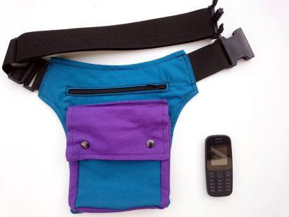 blauwe heuptas met klikgesp