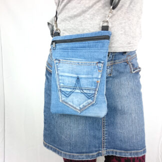 denim schoudertasje